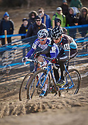 SHOT 1/12/14 4:13:30 PM - Allen Krughoff (#16) of Boulder, Co. and Jonathan Page (#1) of Northfield, N.H. battle for position as the two compete in the Men's Elite race at the 2014 USA Cycling Cyclo-Cross National Championships at Valmont Bike Park in Boulder, Co. Krughoff finished fifth and Page finished sixth in the race. (Photo by Marc Piscotty / © 2014)
