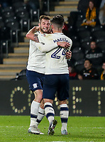 Preston North End's Tom Barkhuizen celebrates scoring his side's first goal with team mate Sean Maguire<br /> <br /> Photographer   Andrew Kearns/CameraSport<br /> <br /> The EFL Sky Bet Championship - Hull City v Preston North End - Tuesday 26th September 2017 - KC Stadium - Hull<br /> <br /> World Copyright © 2017 CameraSport. All rights reserved. 43 Linden Ave. Countesthorpe. Leicester. England. LE8 5PG - Tel: +44 (0) 116 277 4147 - admin@camerasport.com - www.camerasport.com
