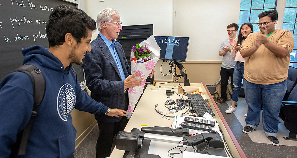 Photography ©Mara Lavitt<br /> October 8, 2018<br /> Dunham Lab, Yale University, New Haven<br /> <br /> William Nordhaus, the Sterling Professor of Economics at Yale University, greets his Monday morning class.