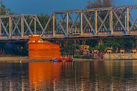 Ferry boats crossing the Yamuna River, Mathura, Uttar Pradesh, India.