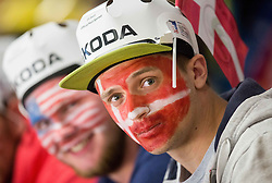 Fans during Ice Hockey match between USA and Denmark at Day 8 in Group B of 2015 IIHF World Championship, on May 8, 2015 in CEZ Arena, Ostrava, Czech Republic. Photo by Vid Ponikvar / Sportida