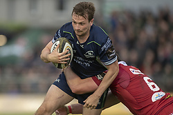 September 22, 2018 - Galway, Ireland - Jack Carty of Connacht with the ball tackled by Ed Kennedy of Scarlets during the Guinness PRO14 match between Connacht Rugby and Scarlets at the Sportsground in Galway, Ireland on September 22, 2018  (Credit Image: © Andrew Surma/NurPhoto/ZUMA Press)