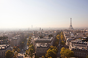 View of the Eiffel Tower and the streets of Paris seen from the roof of the Arc de Triomphe, France