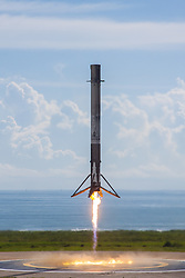 September 7, 2017 - Kennedy Space Center, Florida, U.S. - Orbital Test Vehicle 5 Mission Landing. The 45th Space Wing successfully launched a SpaceX Falcon 9 launch vehicle at 10 a.m. on Sept. 7, 2017, from Kennedy Space Center's Launch Complex 39A. At approximately eight minutes after the launch, SpaceX successfully landed the Falcon 9 first-stage booster at Landing Zone 1 on Cape Canaveral Air Force Station. The Falcon 9 rocket carried into orbit an X-37B Orbital Test Vehicle (OTV), marking the fifth space flight for the X-37B program and its first onboard a Falcon 9. (Credit Image: © Space X/ZUMA Wire/ZUMAPRESS.com)