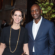 NLD/Amsterdam/20160306 - Modeshow Mart Visser 2016, Annemarie van Gaal en partner Rhandy Macnack