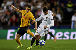 November 7, 2018 - Valencia, Spain - Gonzalo Guedes of Valencia  and Fassnacht of Young Boys during the Group H match of the UEFA Champions League between Valencia and Young Boys at Mestalla Stadium, Valencia on November 07 of 2018. (Credit Image: © Jose Breton/NurPhoto via ZUMA Press)