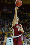 March 18, 2016; Tempe, Ariz;  New Mexico State Aggies forward Brook Salas (5) gets a layup during a game between No. 2 Arizona State Sun Devils and No. 15 New Mexico State Aggies in the first round of the 2016 NCAA Division I Women's Basketball Championship in Tempe, Ariz. The Sun Devils defeated the Aggies 74-52.