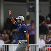 Jason Day, Australia, celebrates on the final hole while winning the The Barclays Golf Tournament by six shots at The Plainfield Country Club, Edison, New Jersey, USA. 30th August 2015. Photo Tim Clayton