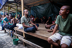 November 10, 2018 - Jakarta, Indonesia - Mental patients gather at the Jamrud Biru foundation in East Bekasi near Jakarta, Indonesia, on Saturday, November 11, 2018. Jamrud Biru is a small private foundation focused on treating the mentally-ill. The foundation give patients a shelter to stay, treat them with prayers and traditional medicine, and feed them vegetarian food. Most of them became mentally ill due to the poor economy. (Credit Image: © Andrew Lotulung/NurPhoto via ZUMA Press)