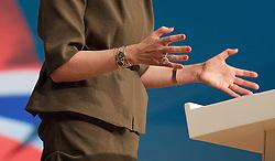 Conservative Party Conference, ICC, Birmingham, Great Britain <br /> Day 3<br /> 9th October 2012 <br /> <br /> Theresa May MP<br /> Home Secretary<br /> keynote speech <br /> jewellery <br /> <br /> <br /> Photograph by Elliott Franks<br /> <br /> United Kingdom<br /> Tel 07802 537 220 <br /> elliott@elliottfranks.com<br /> <br /> ©2012 Elliott Franks<br /> Agency space rates apply