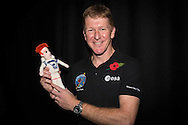 British Astronaut Tim Peake pictured with his doppleganger, Crochet Tim, during the UK Space Agency Schools Conference hosted by the University of Portsmouth at the Guildhall in the city.<br /> The conference celebrated the work of over a million UK school students inspired by Peake's Principia mission, which saw the flight dynamics and evaluation graduate spend more than six months on board the International Space Station.<br /> Youngsters had the chance to present their work through talks and exhibitions to experts from the UK Space Agency, European Space Agency (ESA), partner organisations and the space sector. Most also had the chance to meet Tim.<br /> Picture date Wednesday 2nd November, 2016.<br /> Picture by Christopher Ison for the University of Portsmouth.<br /> Contact +447544 044177 chris@christopherison.com