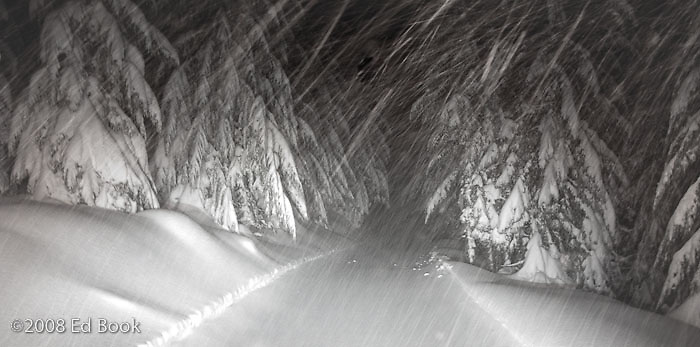 grooming a Mount Tahoma Trails cross country ski trail at night in a snowstorm, Cascade Mountain Range, Washington, USA