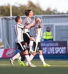 Dunfermline's Kallum Higginbotham cele scoring their penalty goal. half time : Falkirk 0 v 1 Dunfermline, Scottish Championship game played 4/5/2017 at The Falkirk Stadium.