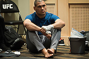 LAS VEGAS, NV - JULY 9:  Cain Velasquez waits in the locker room before UFC 200 at T-Mobile Arena on July 9, 2016 in Las Vegas, Nevada. (Photo by Cooper Neill/Zuffa LLC/Zuffa LLC via Getty Images) *** Local Caption *** Cain Velasquez