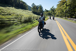 Justin Rinker riding his 1916 Indian during the Justin Rinker of IL on his 1916 Indian during the Motorcycle Cannonball Race of the Century. Stage-3 from Morgantown, WV to Chillicothe, OH. USA. Monday September 12, 2016. Photography ©2016 Michael Lichter.