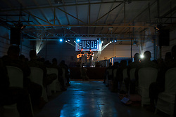 December 21, 2017 - Sevilla, Spain - Country music artist Jerrod Niemann performs during Chairman?'s USO Holiday Tour at Moon Air Base Dec. 21, 2017. Marine Corps Gen. Joe Dunford, chairman of the Joint Chiefs of Staff, and Army Command Sgt. Maj. John W. Troxell, senior enlisted advisor to the chairman, along with USO entertainers, visited service members who are deployed during the holidays at various locations across Europe and the Middle East. .(Credit Image: ? US Navy/ZUMA Wire/ZUMAPRESS.com)