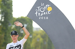 Third-placed Great Britain's Christopher Froome on the podium after the 21st and last stage of the 105th edition of the Tour de France cycling race between Houilles and Paris Champs-Elysees, in Paris, France, on July 29, 2018. Photo by Eliot Blondet/ABACAPRESS.COM