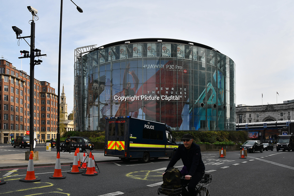 China mobile - Huawei P30 Pro ad cover the whole of the BFI - IMax at Waterloo on 18 April 2019, London, UK.