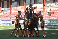 Hull City's Mallik Wilks celebrates scoring his side's second goal <br /> <br /> Photographer Mick Walker/CameraSport<br /> <br /> The EFL League 1 - Crewe Alexandra v Hull City  - Friday 2nd April  2021 - Alexandra Stadium-Crewe<br /> <br /> World Copyright © 2020 CameraSport. All rights reserved. 43 Linden Ave. Countesthorpe. Leicester. England. LE8 5PG - Tel: +44 (0) 116 277 4147 - admin@camerasport.com - www.camerasport.com
