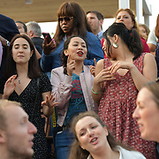 Hundreds packed at The Scoop dancing and singalong at the Summer by the River: Massaoke | London Bridge City, on 28 June 2019, London, UK.