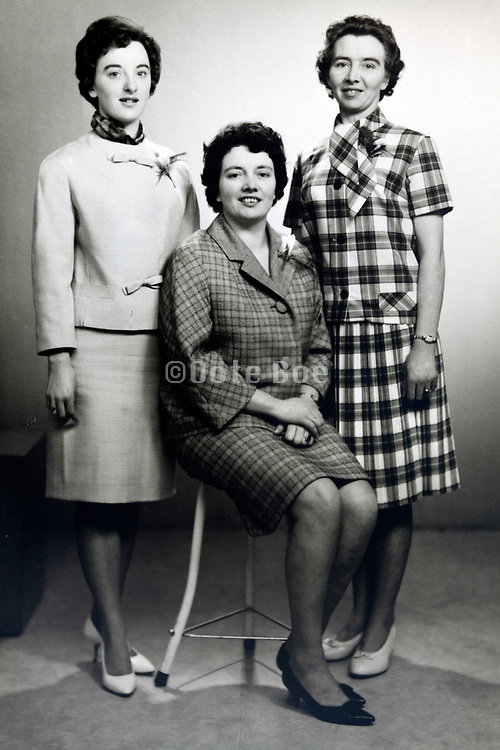 classic studio portrait of three women 1950s
