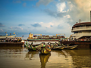 21 OCTOBER 2015 - YANGON, MYANMAR:   Small boats used as ferries on the Yangon River in Yangon. PHOTO BY JACK KURTZ