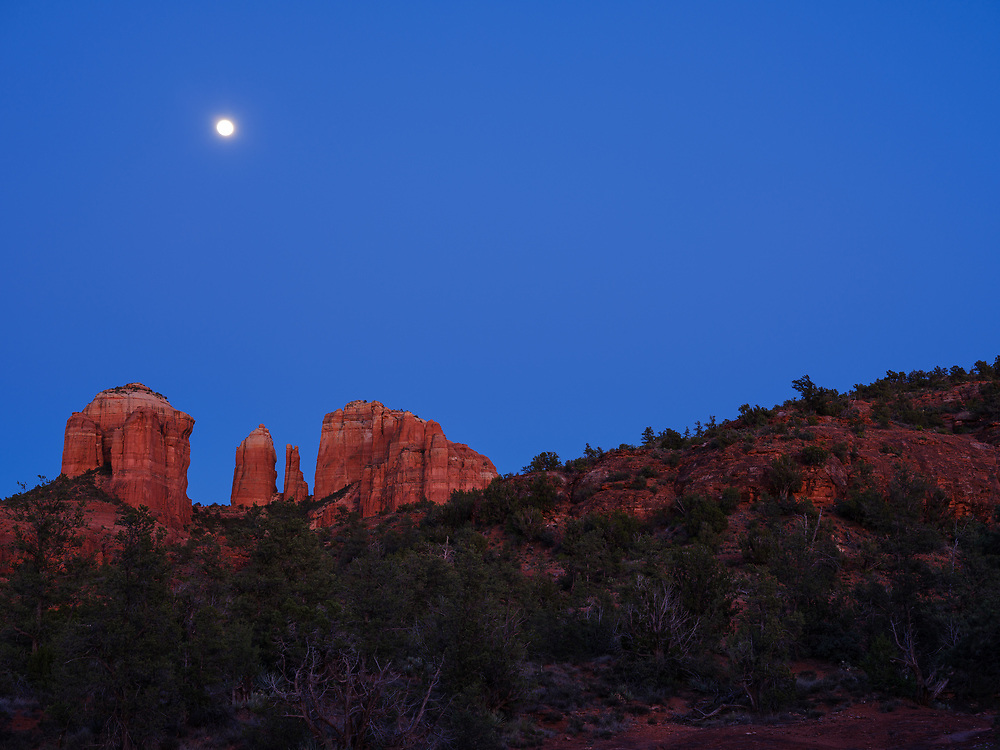 Cathedral Rock Moonrise in Sedona, AZ.
