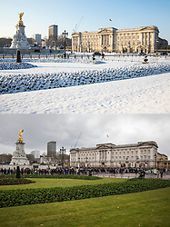 © Licensed to London News Pictures. 4/03/2018. London, UK. In this combined image Buckingham Palace was surrounded with snow on 28th Feb and is today surrounded with visitors as the snow has melted. Large parts of the UK are recovering from a week of sub zero temperatures and heavy snowfall, following two severe cold fronts.. Photo credit: Rob Pinney/LNP