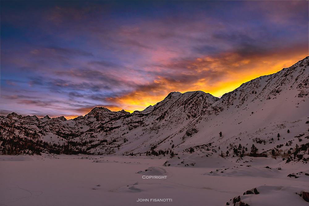 Winter Sunset at Lake Sabrina, Sierra Nevada