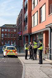 South Yorkshire Police Officers guard the perimeter of 1 Dunn St Daisy Spring Works after an armed police raid on Thursday evening June 1 2017 which resulted n the arrest of one man. An officer from the North East Counter Terrorism Unit said the raids were not linked to the recent terror attack in Manchester and officers were were acting upon recently received intelligence.<br /> <br /> 01 June 2017 <br />  Copyright Paul David Drabble<br />  www.pauldaviddrabble.co.uk