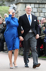 Zara Tindall and Mike Tindall arrive ahead of the wedding of Princess Eugenie to Jack Brooksbank at St George's Chapel in Windsor Castle