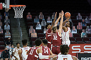 Southern California Trojans forward Evan Mobley (4) attempts to shoot over Stanford Cardinal forward Lukas Kisunas (32) and forward Zaire Williams (3) during an NCAA men's basketball game, Wednesday, March 3, 2021, in Los Angeles. USC defeated Stanford 79-42. (Jon Endow/Image of Sport)