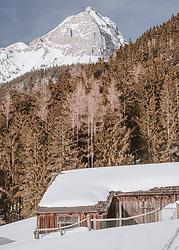 THEMENBILD - ein Stall am Berg, dahinter Nadelwald und das schneebedeckte Steinerne Meer, aufgenommen am 16. Februar 2019 in Maria Alm, Oesterreich // a stable on the mountain, behind it a coniferous forest and the snow-covered Steinerne Meer, in Maria Alm, Austria on 2019/02/16. EXPA Pictures © 2019, PhotoCredit: EXPA/Stefanie Oberhauser