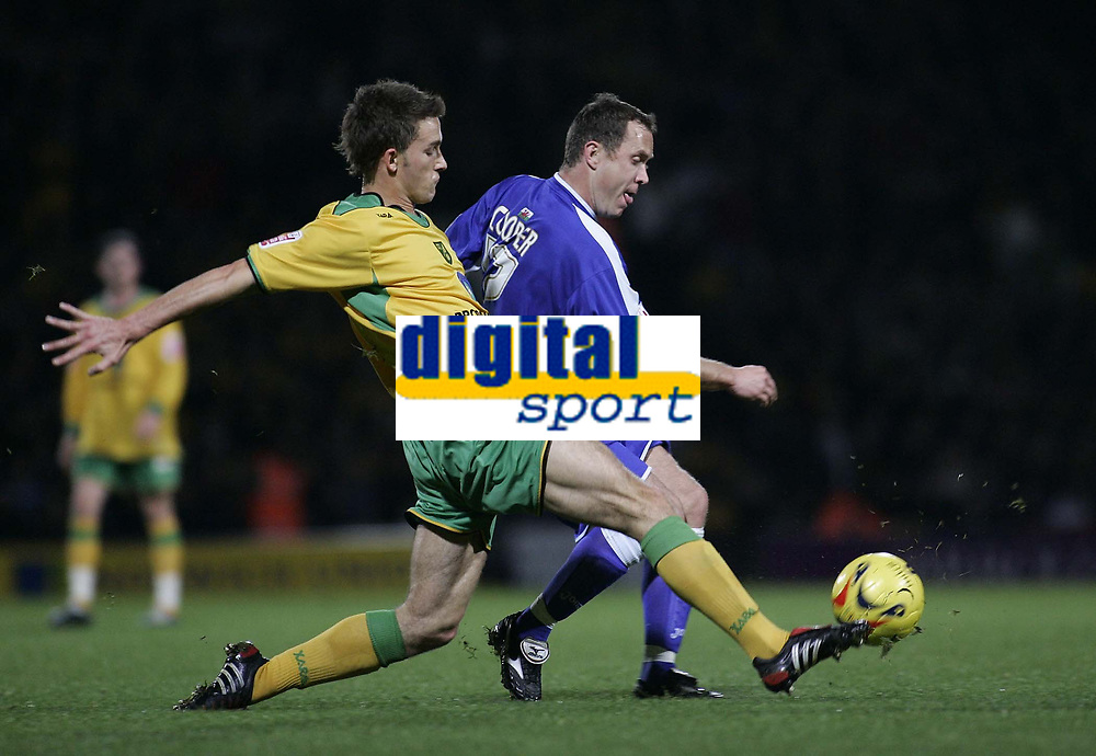Photo: Barry Bland.<br />Norwich City v Cardiff City. Coca Cola Championship.<br />01/11/2005.<br />Adam Drury and Kevin Cooper.