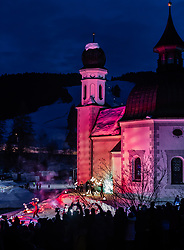 20.02.2019, Seefeld, AUT, FIS Weltmeisterschaften Ski Nordisch, Seefeld 2019, Eröffnungsfeier, im Bild Choreographie Feuershow // Choreography fire show during the opening ceremony of the FIS Nordic Ski World Championships 2019. Seefeld, Austria on 2019/02/20. EXPA Pictures © 2019, PhotoCredit: EXPA/ JFK