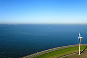 Nederland, Flevoland, Gemeente Almere, 24-10-2013; Almere-Pampus, Kustzone Almere. Zicht op het IJmeer met het forteiland Pampus, locatie voor een mogelijke IJmeerverbinding (IJmeerlijn). Foto richting IJburg, Amsterdam skyline en Waterland zichtbaar aan de horizon.<br /> Windmills along the coast in Almere Poort, viewed in direction Amsterdam. Isle of Pampus (fortress) in the middle of the IJmeer (water).  <br /> luchtfoto (toeslag op standaard tarieven);<br /> aerial photo (additional fee required);<br /> copyright foto/photo Siebe Swart.