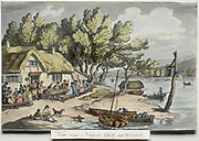 Rowlandson's Sketches from Nature: View near Newport, Isle of Wight 1809 by Thomas Rowlandson (British, 1756-1827) England, early 19th Century Etching, hand colored