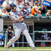 Chicago, IL - June 05, 2011:  Detroit Tigers infielder, Miquel Cabrera (24), bats against the White Sox at U.S. Cellular Field on June 5, 2011 in Chicago, IL.