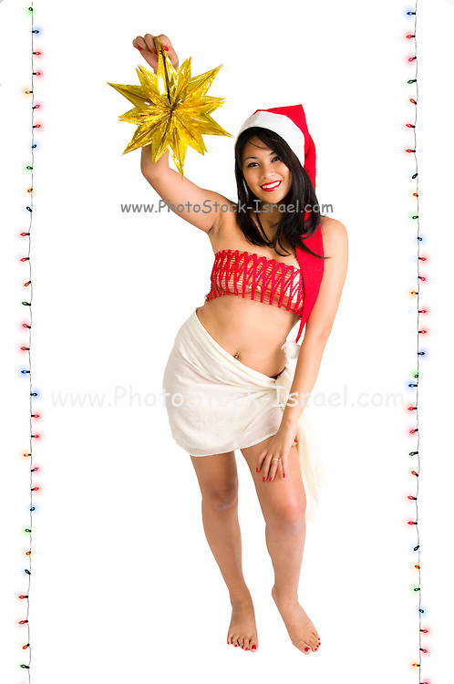 young Asian woman with Santa hat