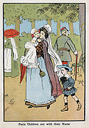 Paris nursemaid giving her charges fresh air in the Champs Elysee: c1890.  Coloured lithograph
