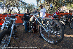 Custom large wheeled HD entry from Kuwait in the Harley-Davidson Editors Choice bike show at the Broken Spoke Saloon. Daytona Bike Week 75th Anniversary event. FL, USA. Wednesday March 9, 2016.  Photography ©2016 Michael Lichter.