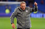 Cardiff City manager Neil Warnock gives the thumbs up to the Cardiff city fans. EFL Skybet championship match, Cardiff city v Sheffield Wednesday at the Cardiff city stadium in Cardiff, South Wales on Wednesday 19th October 2016.<br /> pic by Carl Robertson, Andrew Orchard sports photography.