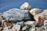 Sedimentary rocks as part of sea defences in County Wexford, Ireland
