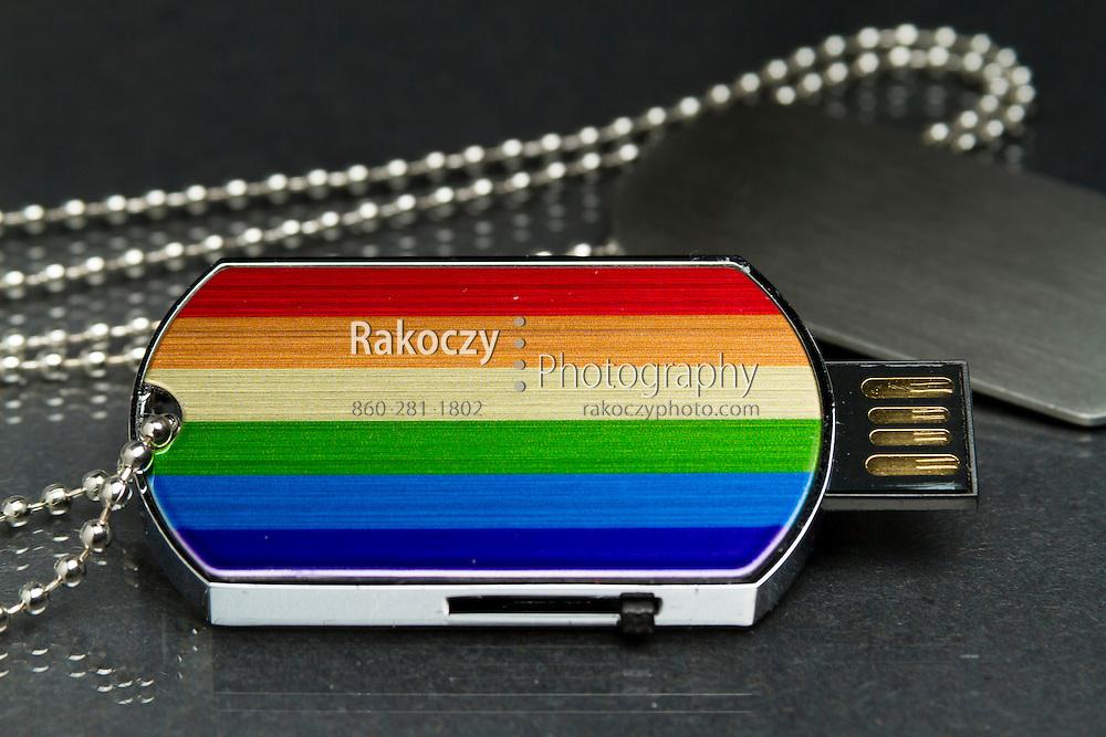 Dog Tag USB Flash Drive, Rainbow Pride Design Necklace