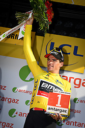 July 17, 2018 - Le Grand Bornand, FRANCE - Belgian Greg Van Avermaet of BMC Racing wearing the yellow jersey of overal leader receives the combativity award for the most aggressive rider after the tenth stage in the 105th edition of the Tour de France cycling race, 112.5 km from Annecy to Le Grand Bornand, France, Tuesday 17 July 2018. This year's Tour de France takes place from July 7th to July 29th. BELGA PHOTO DAVID STOCKMAN (Credit Image: © David Stockman/Belga via ZUMA Press)
