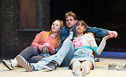 Rita, Sue and Bob Too<br /> By Andrea Dunbar<br /> at The Royal Court Theatre, London, Great Britain <br /> Press photocall <br /> 11Pm h January 2018 <br /> <br /> Directed by Kate Wasserberg <br /> <br /> James Atherton as Bob <br /> <br /> Taj Atwal as Rita <br /> <br /> Gemma Dobson as Sue <br />  <br /> <br /> <br /> Photograph by Elliott Franks