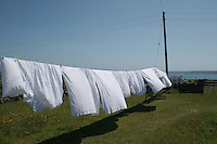 Sheets flapping in the breeze on a windy day