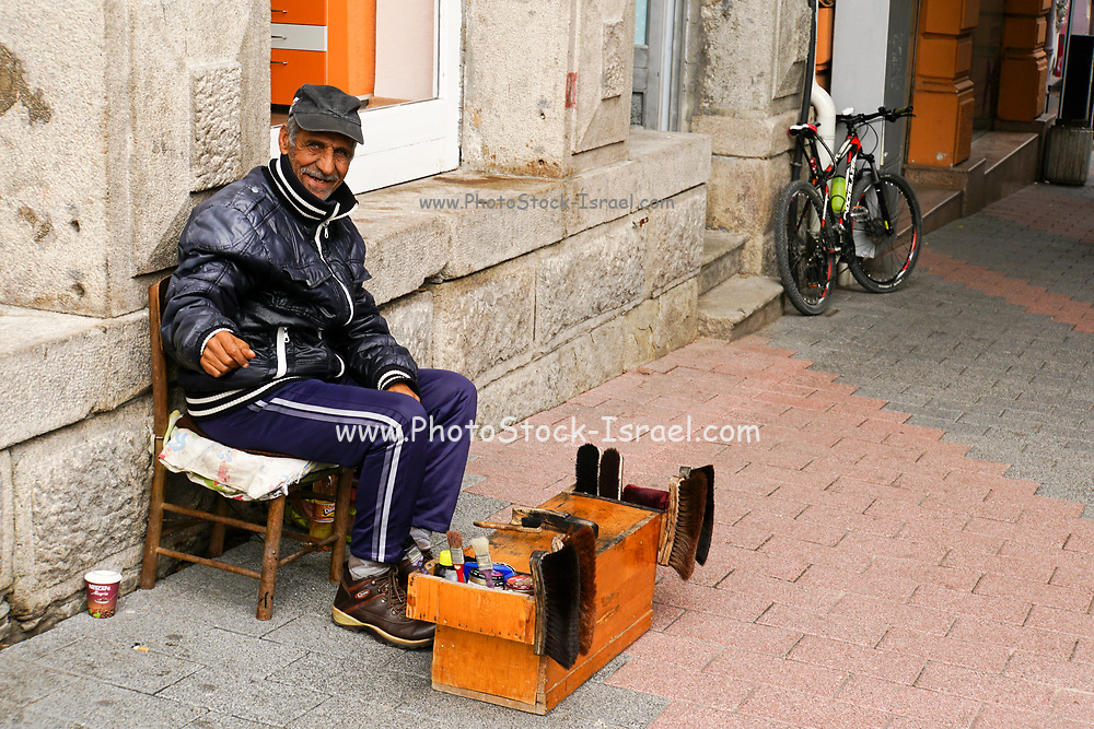 Shoeshine stand. Photographed in Plovdiv, Bulgaria
