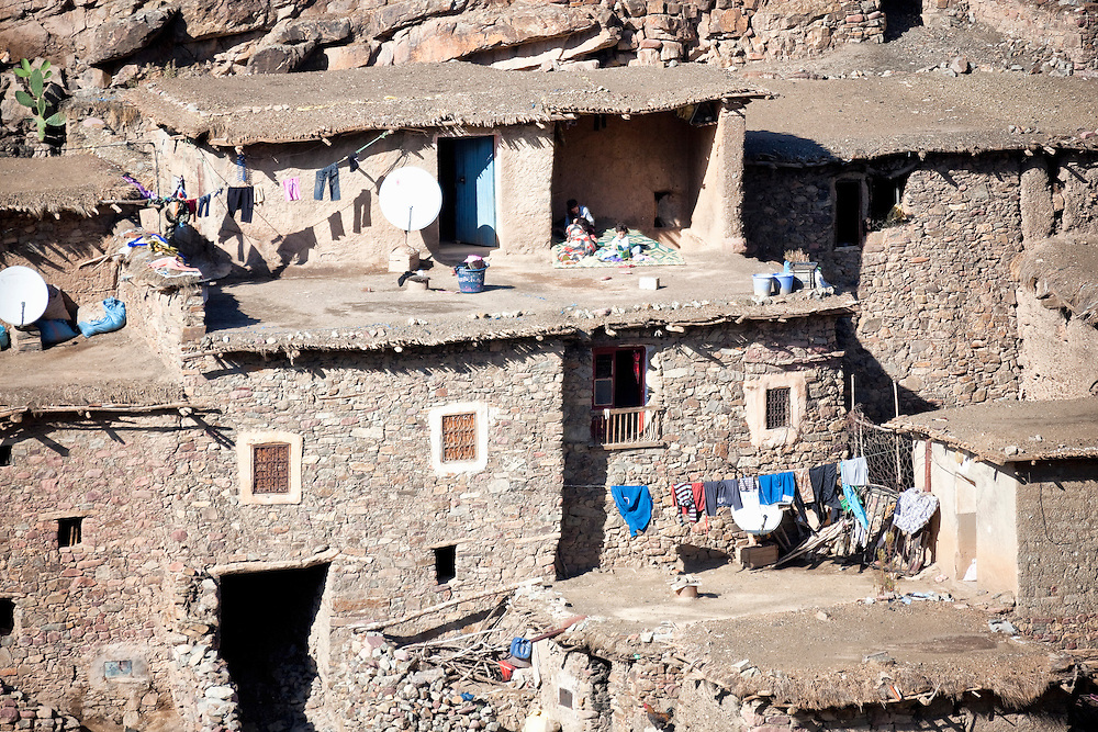 Houses of a Berber village in the High Atlas Mountains, Morocco.
