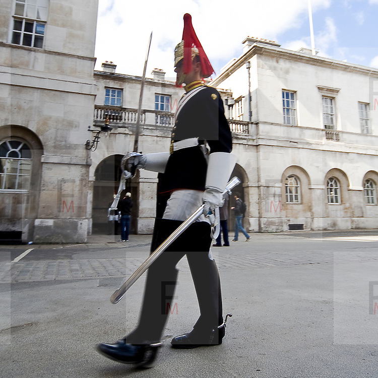 A Royal Horse Guard march in courtyard of the Horse Guard building